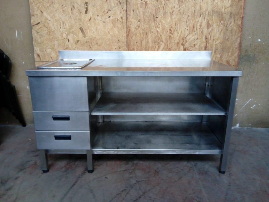 Tavolo da lavoro con cassetti in acciaio